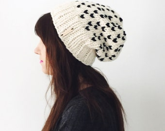 Slouchy Knit Hat / Chunky Knit Slouch Beanie / Slouchy Tiny Hearts Hat / Womens Winter Hat /