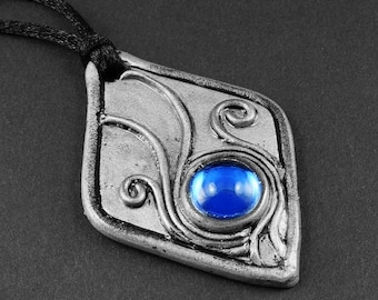 Summer Sale - 10% off - Cobalt Blue Glass and Silver Polymer Clay with Filigree Style Accents Necklace