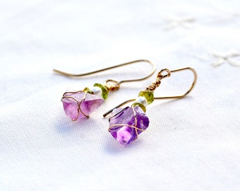 Amethyst Earrings. Amethyst Quartz Earrings. Natural Amethyst Crystals + Pearls Peridot. Raw Rough Purple Stone Earrings. Triangle Crystals