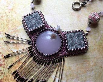 Bead Embroidery Rose Quartz Polymer Fringe Necklace, Boho Gypsy Bohemian Art to Wear Jewelry