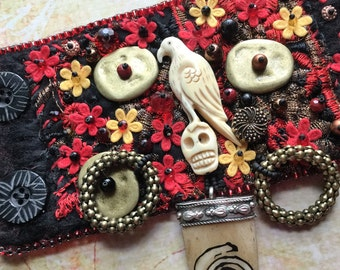 Felted Bead Embroidery Day of the Dead Bracelet Cuff, Boho Chic Festival Raven Spiral Jewelry