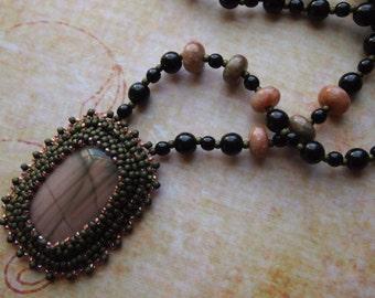 Bead Embroidery Red Creek Jasper Tribal Boho Beaded Necklace