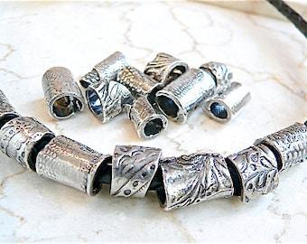 Handmade Sterling BEADS ~ LARGE HOLE Tribal Beads ~ Big Hole- Worry Beads - Metal Bead, Jewelry Supply - Fits Pandora - Mens Jewelry