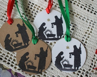 Nativity Round Christmas Gift Tag - Set of Eight hand stamped from hand carved stamp