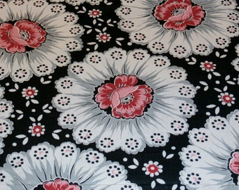 """Vintage Cotton Fabric 1940s Beautiful Floral Design with Eyelet Petals, White, Grey and Red on Black 35 3/4"""" x 36"""" - 3 Yards Available"""