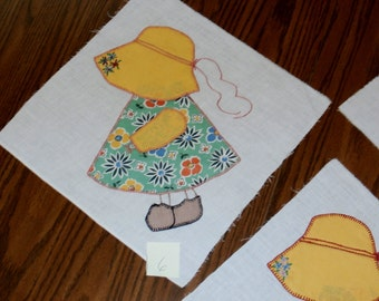 "Vintage 1940s Sunbonnet Sue Quilt Block Buttonhole Stitch Embroidery 12"" Block Listing for Single Block 42 Available"