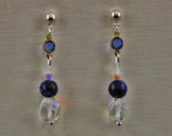Handmade Czech Glass Crystal Brass and Lapis Post Earrings