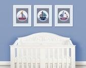 """Set of 3 Unframed """"Sail Away/Sailboats/Boats/Nautical"""" 8x10 inch Linen Look Nursery Wall Art Prints Baby Children Kids Decor"""