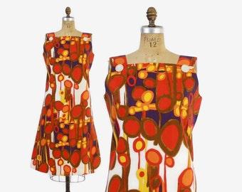 Vintage 60s Shift DRESS / 1960s Bright Mod Abstract Print Cotton Sun Dress L