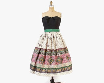 Vintage 50s Full SKIRT / 1950s Metallic Painted Abstract Floral Cotton Rockabilly Skirt S