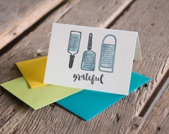 Grateful Card, letterpress printed eco friendly