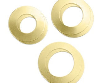 """Stamp Blanks Assorted Set Brass Washer 6 Pieces ImpressArt for Hand Stamping 1"""" to 1 1/2"""" - AA147"""