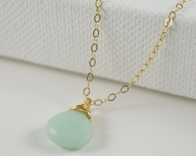 Amazonite Necklace, Amazonite Pendant, Layering Necklace, Minimalist,  Crystal Necklace, Amazonite Jewelry, Rose Gold Filled Necklace