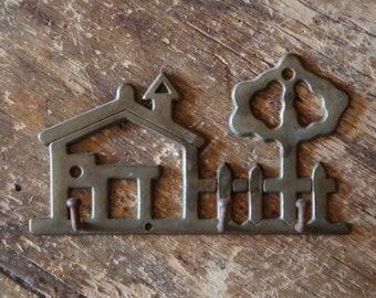 Vintage Small Brass Home Key Hook / House and Tree Holder