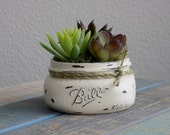 Mason jar succulent planter in off white, distressed mason jar with artificial succulents, decorative succulent planter, air plant decor