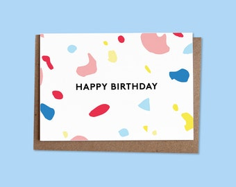 HAPPY BIRTHDAY Greetings card + recycled envelope
