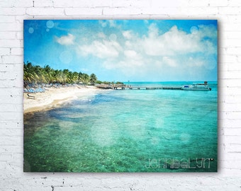 turks and caicos - tropical decor - caribbean art - aqua ocean photography