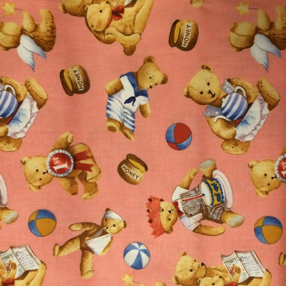 Items similar to fabric bear baby vintage birthday toys for Retro baby fabric