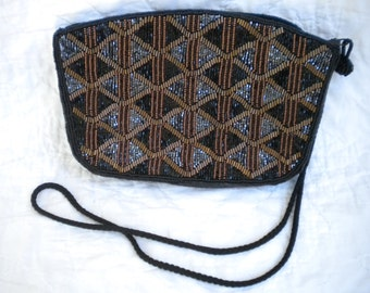 Gorgeous beaded hand made purse new vintage condition glitzy glamour party evening bag black copper silver