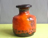Fat Lava Orange Glaze Vintage West German Pottery Carstens Vase