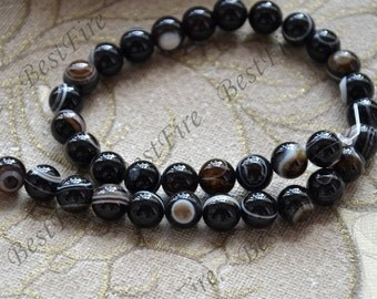 Charm 10 mm black eyes agate round Gemstone Loose Beads,agate gemstone loose bead,semi-precious stone bead