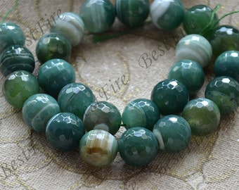 Charming 16mm Green agate round Gemstone Loose Beads,agate gemstone loose bead,semi-precious stone bead
