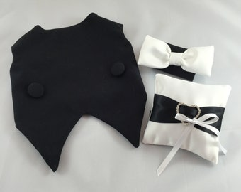 Perfect black tuxedo with white bow tie in front of neck, white pillow, dog  tuxedo, best man dog, custom tuxedo, tuxedo with ring pillow