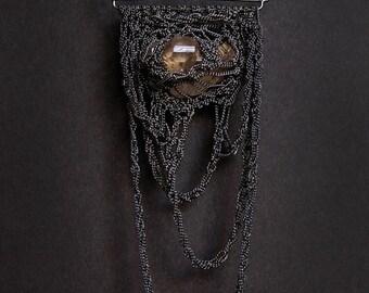 herkimer quartz diamond crochet necklace