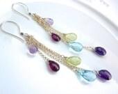 Amethyst, Rhodolite Garnet, Phrenite and Topaz Modern Drop Chainmaille Earrings. Long Earrings. Gemstone Jewelry. Mom Birthstone Jewelry.