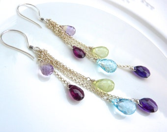 Amethyst, Rhodolite Garnet, Phrenite and Topaz Modern Drop Chainmaille Earrings. Long Earrings. Gemstone Jewelry. Mom Birthstone Jewelry.