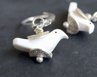 Bird Earrings, White Carved Bird Jewelry, Carved Bead Earrings