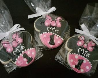 1 Dozen Personalized Minnie Cookie Favors