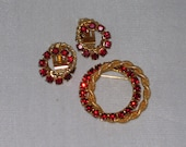 Red Rhinestone Brooch Earrings Set Vintage Double Circle Pin Christmas Jewelry