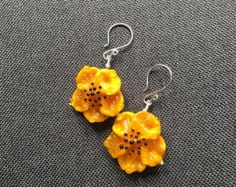Yellow Mod Lampwork Earrings, Handmade Glass Bead Earring, Lampwork Jewelry, Flower Summer Earrings,Dangle Drop Earrings, Glass Bead Jewelry