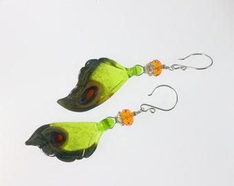 Butterfly Wing Earrings, Glass Bead Earrings, Lampwork Earrings, Wing Earrings, Statement Earrings, Butterfly Jewelry, Dangle Earrings