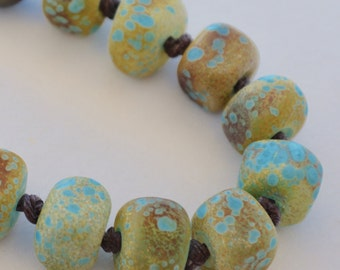 Art Bead Necklace, Blue and Ochre Lampwork,  Freshwater Pearls, Knotted Linen, Aged Brass Chain, Long Length Necklace
