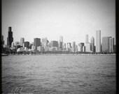 Chicago Skyline - Square Black & White Photo of Chicago Lakefront