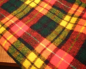 Vintage Mid Century Acrylic Plaid Blanket - Poncho
