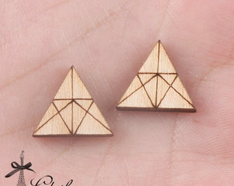 4Pcs DIY Laser Cut Wood Cute Geometric Triangle Charms / Pendants  (WP-C-6)
