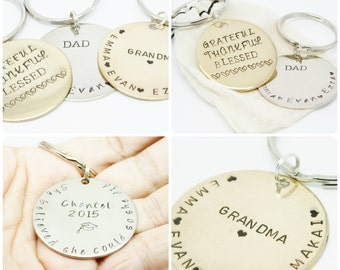 Keychain CUSTOM Key Chain Hand Stamped Keepsake Names Can Be Added Unique Gift Quality Personalized Your Own Design Stocking Stuffer Family