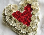 heart shaped vintage book page and red rose wreath recycled paper flowers spiral roses wedding decoration Valentines day ring bearer pillow