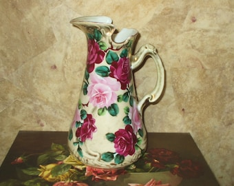 Nippon Pitcher Ewer Vase Hand Painted Roses Victorian Antique Porcelain for Christmas