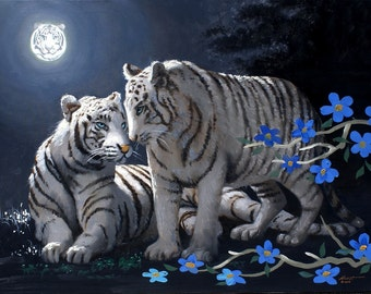 Tigers' Moon wildlife illusion oil painting 30x40 (76.2 x 101.6 cm) by RUSTY RUST / T-73