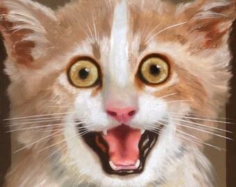 Kitten oil painting 36x36 (91.4 x 91.4 cm) by artist RUSTY RUST / C-117