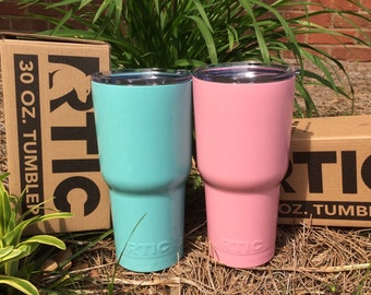 SALE Powder coated RTIC painted 30oz similar to Yeti Rambler tumbler custom monogram logo cup initial triple insulated color great gift