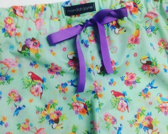 Tropical Birds Mint - Womens Mini Sleep Shorts