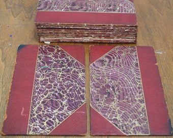 Antique Book Boards Marbled Paper Lot of 2