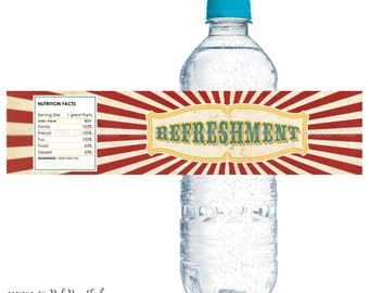 Vintage Circus Bottle Labels or Wrap, Instant Download, Print Your Own