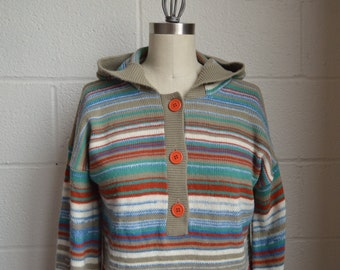 1960s Pullover Sweater Gray Blue White and Rust Stripe Sweater with Hood Buttons and Bell Sleeve by Sears JR Bazaar Size Large