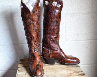 Python Boots by Hondo Boots El Paso TX Made in Mexico Womens Size 5B Brown and Black Snake Skin Boots Never Worn